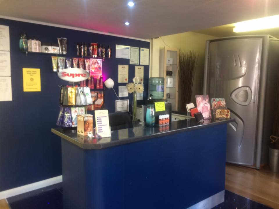 Counter with sun tan products