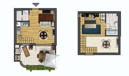 Piantina miniappartamento su due piani