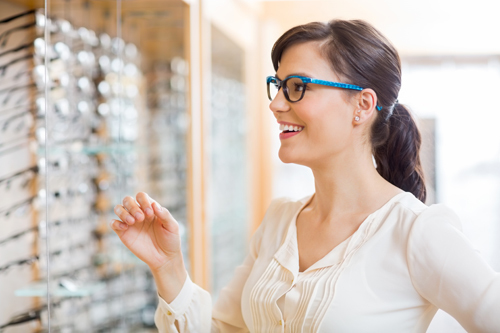 Woman selecting the frames
