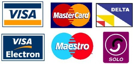 Available payment methods - Visa, mastercard, Delta, Visa Electron, Maestro and Solo
