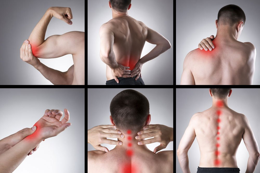 6 images with different types of pains