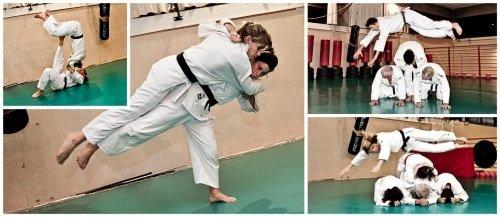 delle foto di donne e uomini che praticano judo