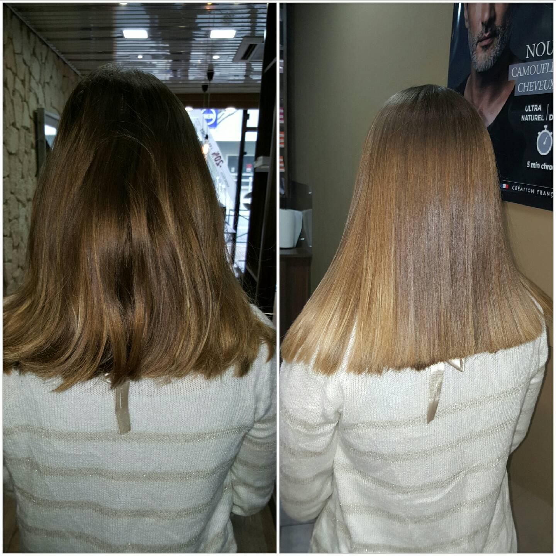 Lissage brésilien au salon Attitude coiffure