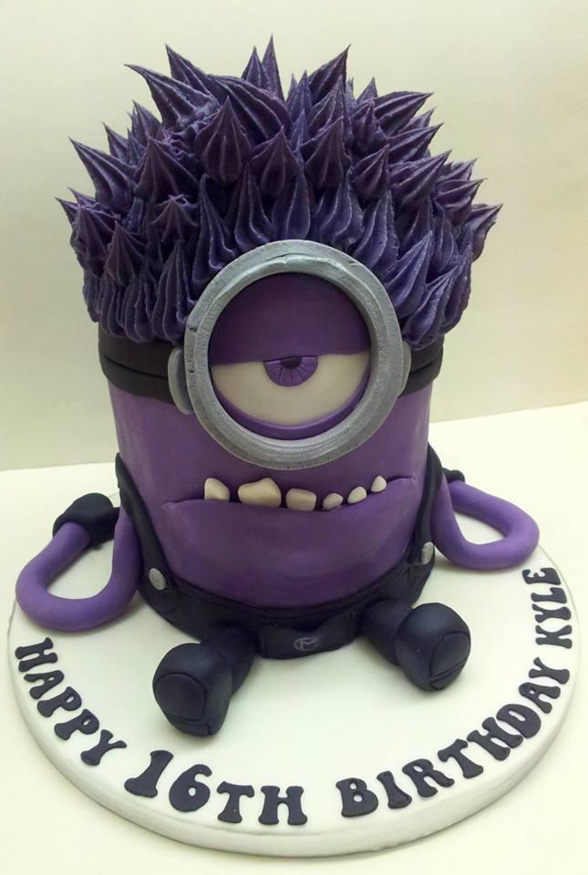 Cake shaped like a purple Minion