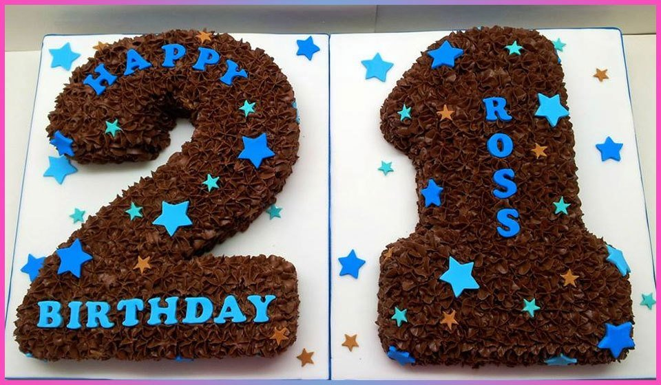 Chocolate 2 and 1, decorated with blue stars and