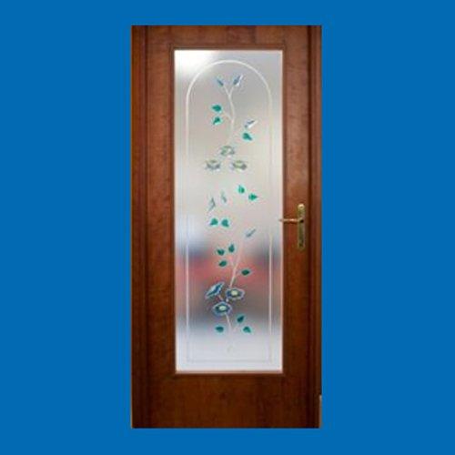 porta in vetro con decorazione