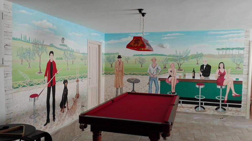 Decorazione pareti sala hobby