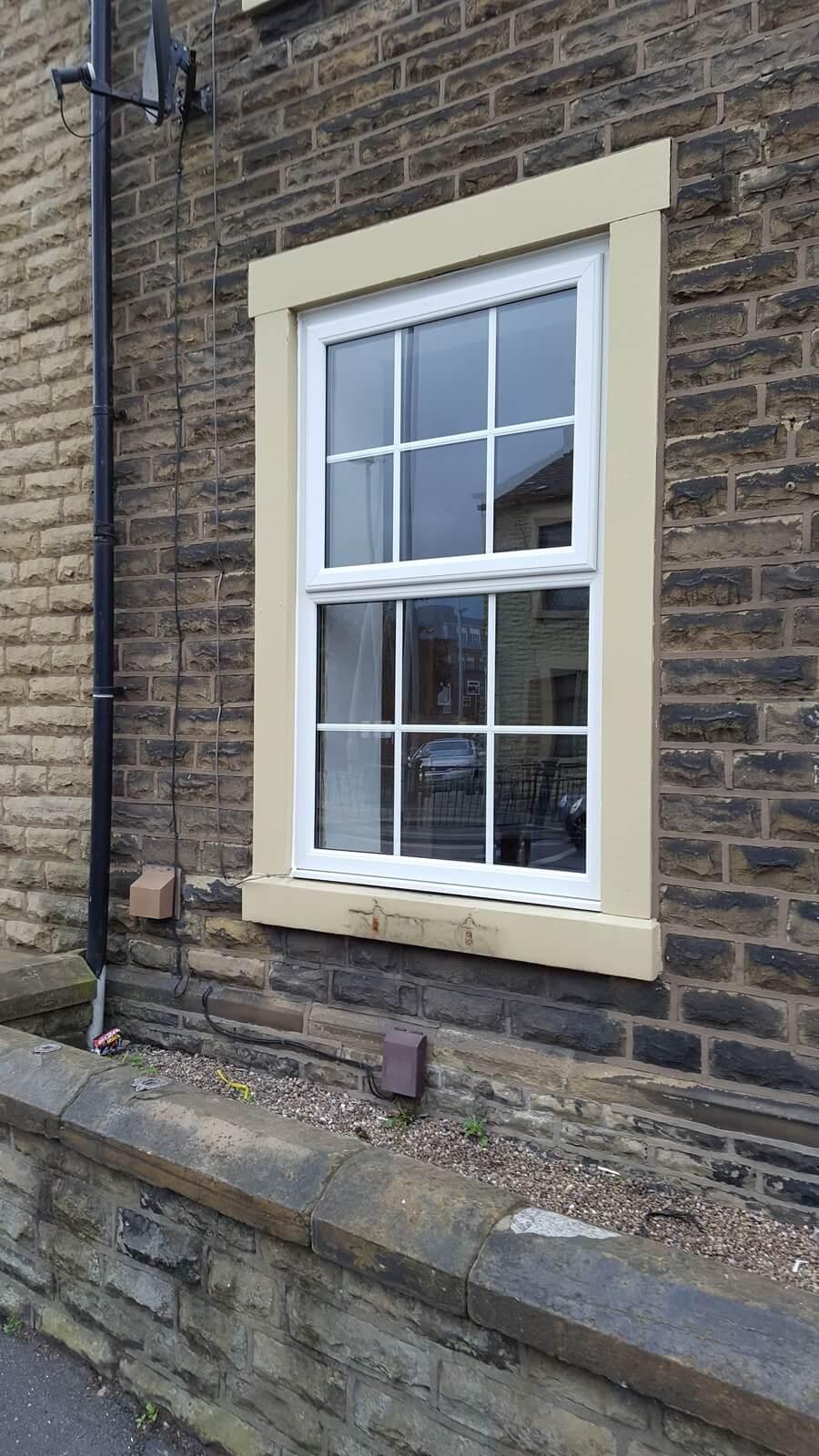 close up on brick house window