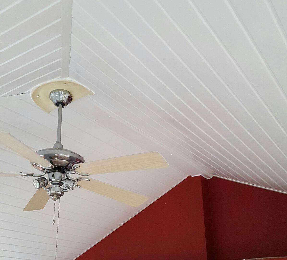 ceiling fan on restored ceiling