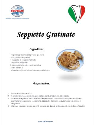 Cuttlefish gratin recipe Golfomar La Spezia