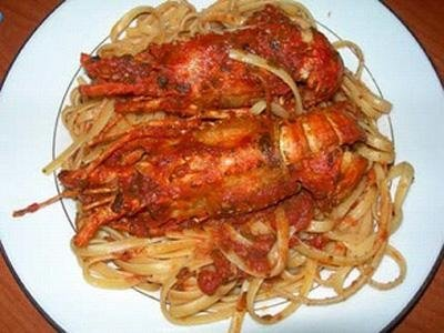 Linguine with lobsters