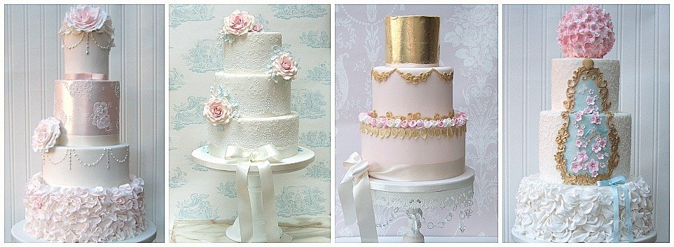 Elegant lace wedding cakes in Bristol