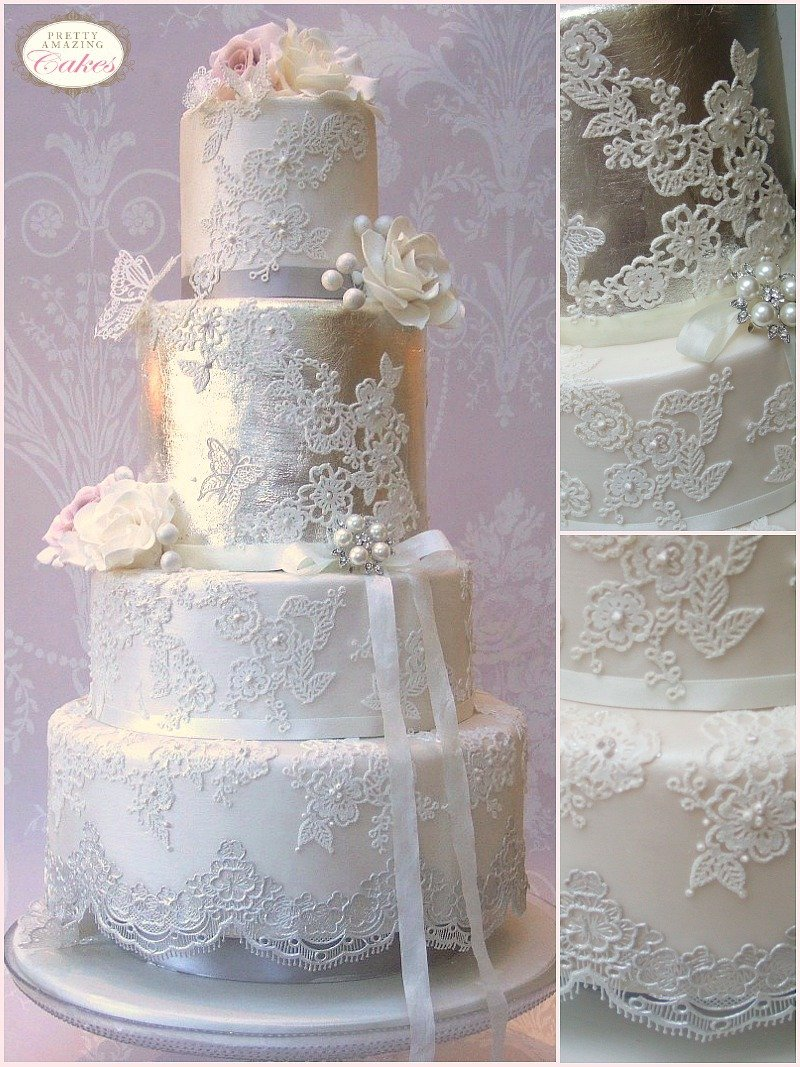 Antique silver leaf wedding cakes Bristol,  Gloucester, Cotswolds by Pretty Amazing Cakes