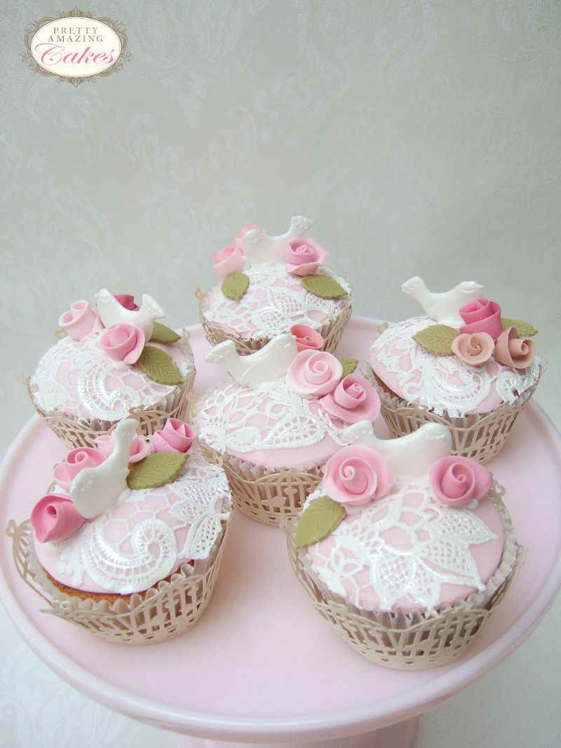 Lace topped cupcakes by Bristol cake makers Pretty Amazing Cakes