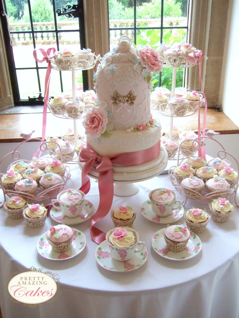 Birdcage and cupcakes by Pretty Amazing Cakes Bristol