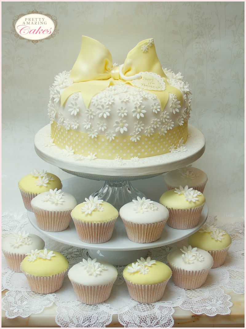 Daisy cake and cupcakes by Pretty Amazing Cakes, Bristol bakers