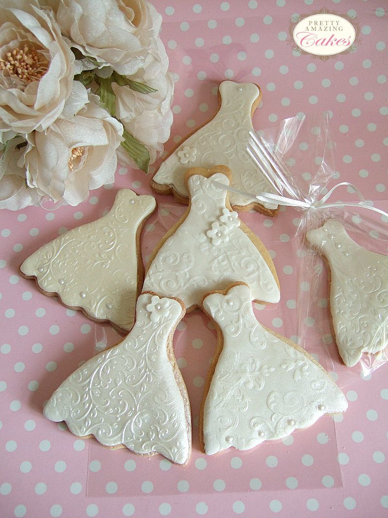 Wedding Dress Biscuit Favours Bristol by Pretty Amazing Cakes