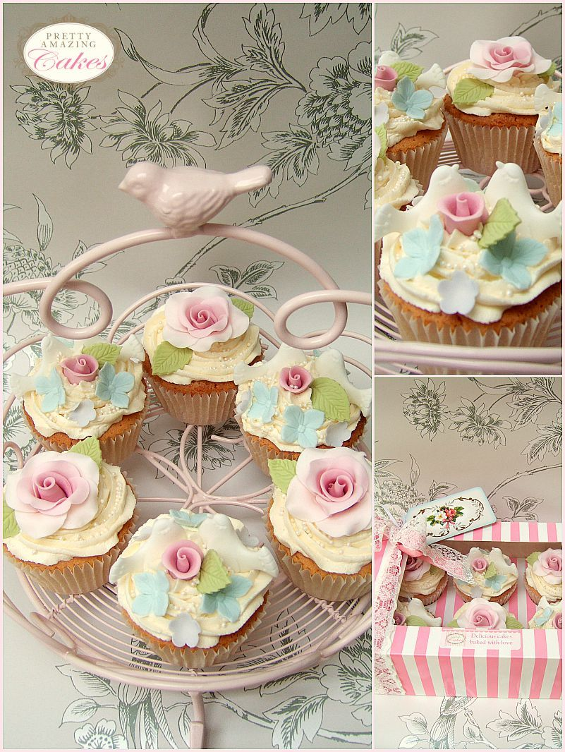 Sugar flower cupcakes at Pretty Amazing Cakes in Bristol