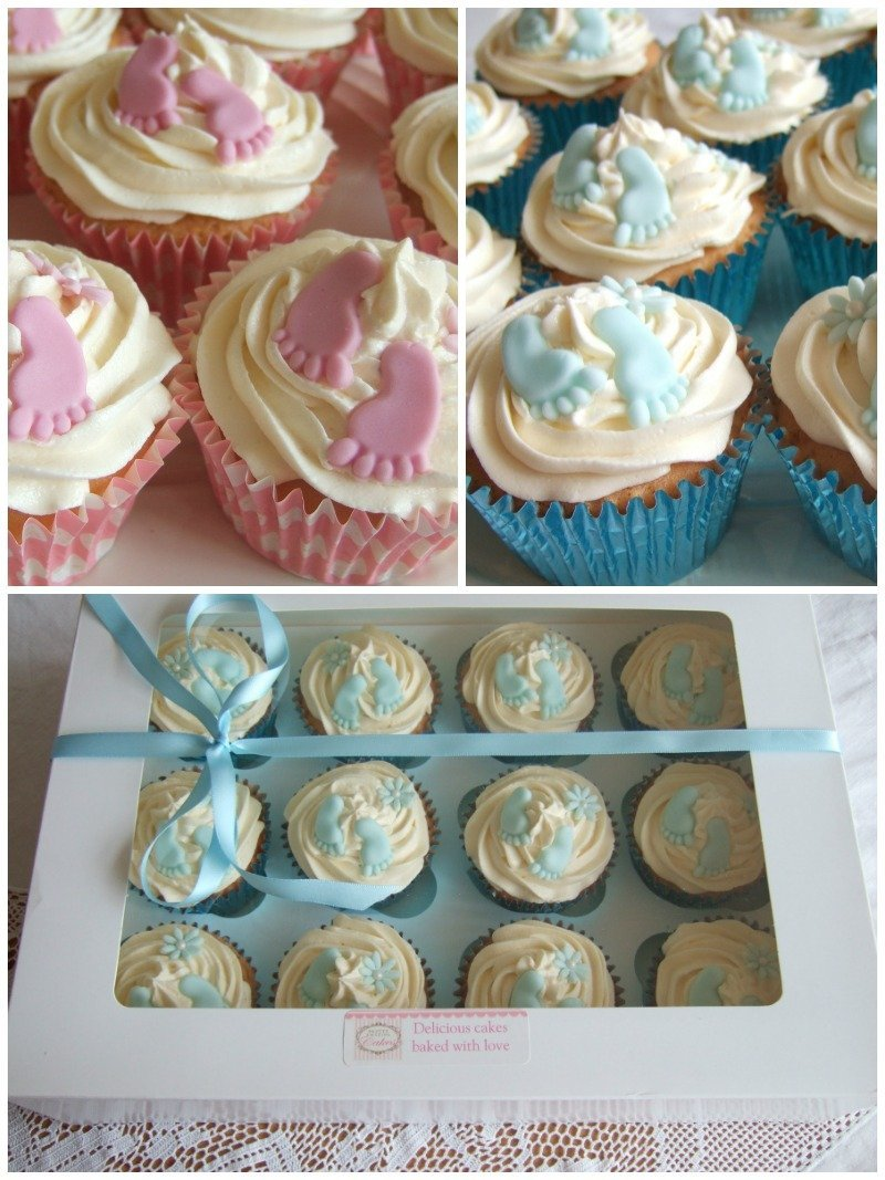 Baby shower cupcakes Bristol, Baby foot print cupcakes blue and pine