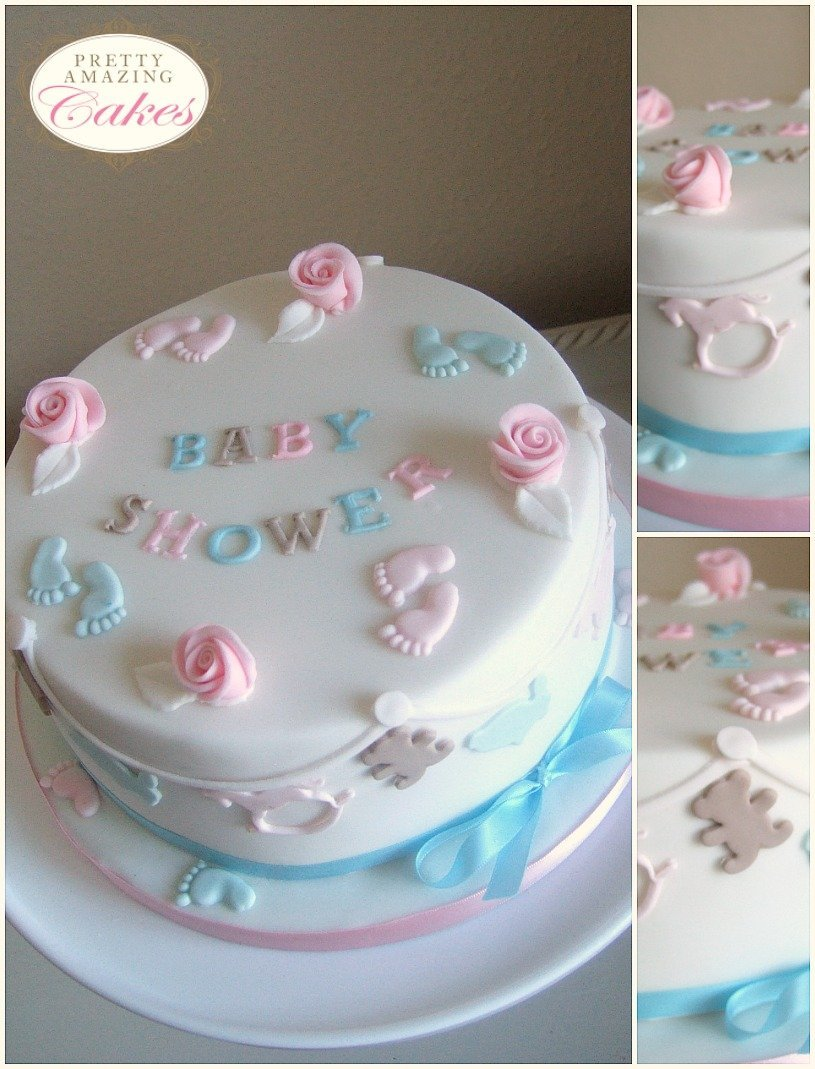 Patter Of Tiny Feet. Pretty Baby Shower Cake ...