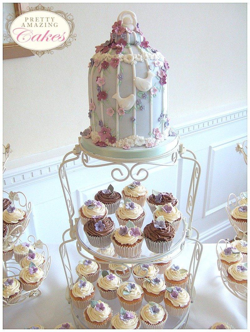 Birdcage and cupcakes wedding cake Bristol