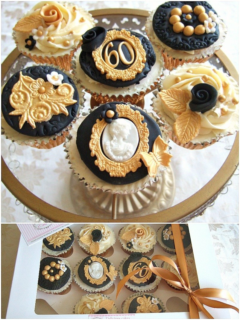 Black and Gold Cupcakes Bristol, Glamorous luxury gold and black cupcakes Bristol by Pretty Amazing Cakes