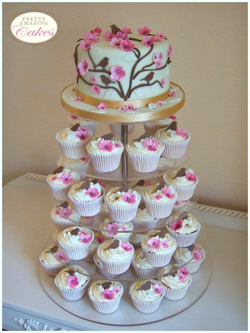Cherry Blossom cupcake tower Bristol by Pretty Amazing Cakes