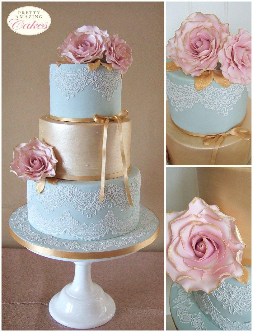 Blue and Gold wedding cakes Bristol, Bath Somerset, Gloucestershire, award winning wedding cake designer