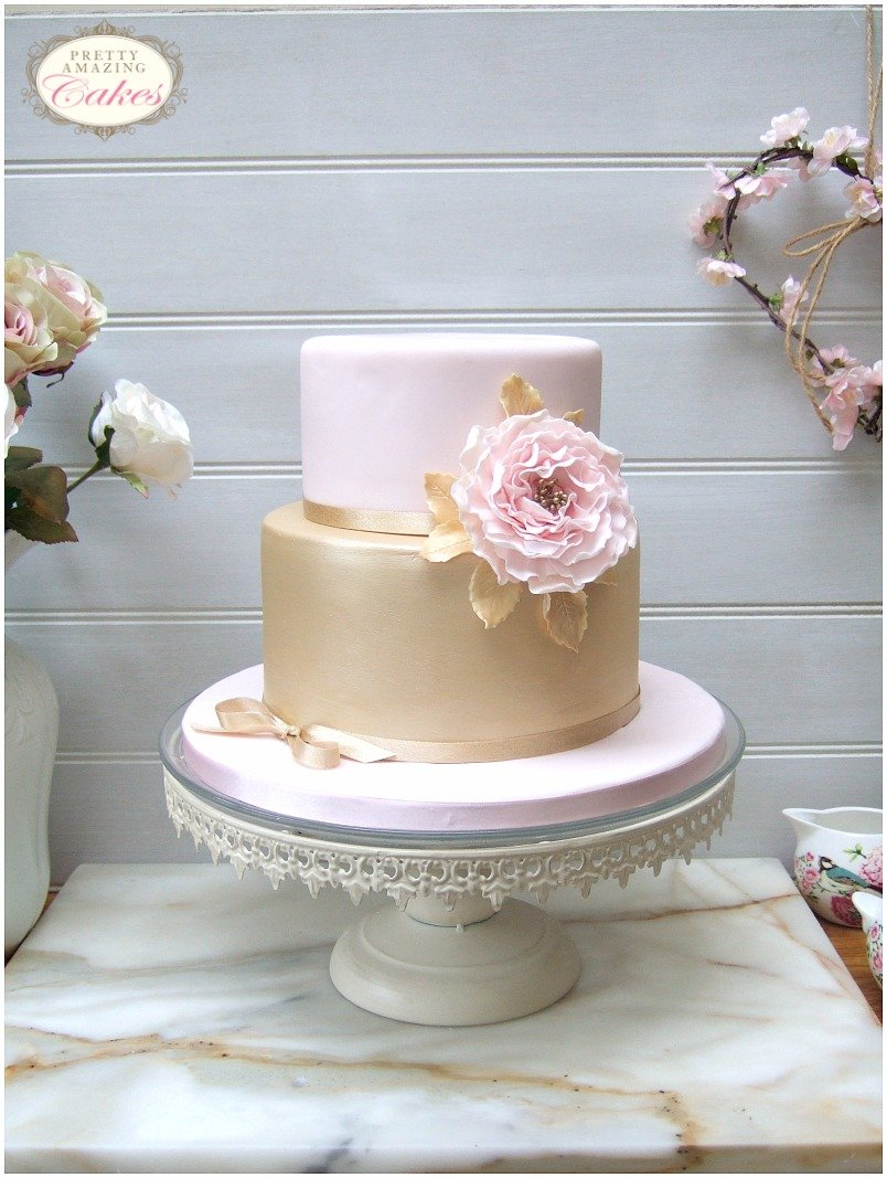Blush and gold birthday cakes Bristol