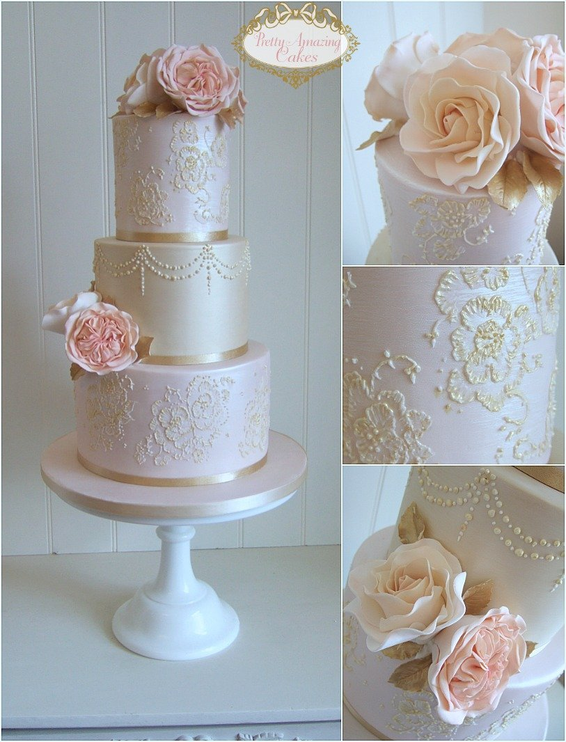 blush and gold wedding cakes, vintage gold lace wedding cakes Bristol, Gloucestershire, Bath, Somerset, The Cotswolds