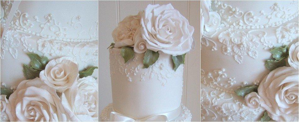 elegant white lace wedding cake Bristol Pretty  Amazing  Cakes