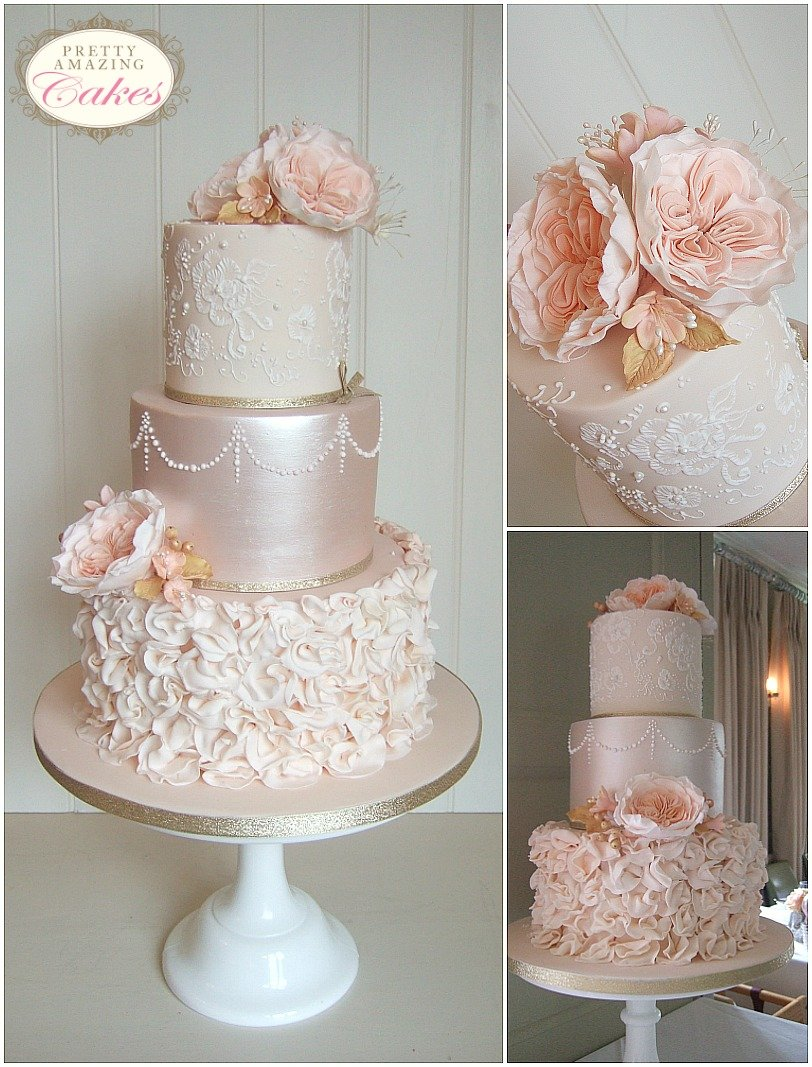 Cotswold wedding cakes, Gloucestershire, Peach ruffles vintage wedding cake Bristol Gloucester Cotswolds