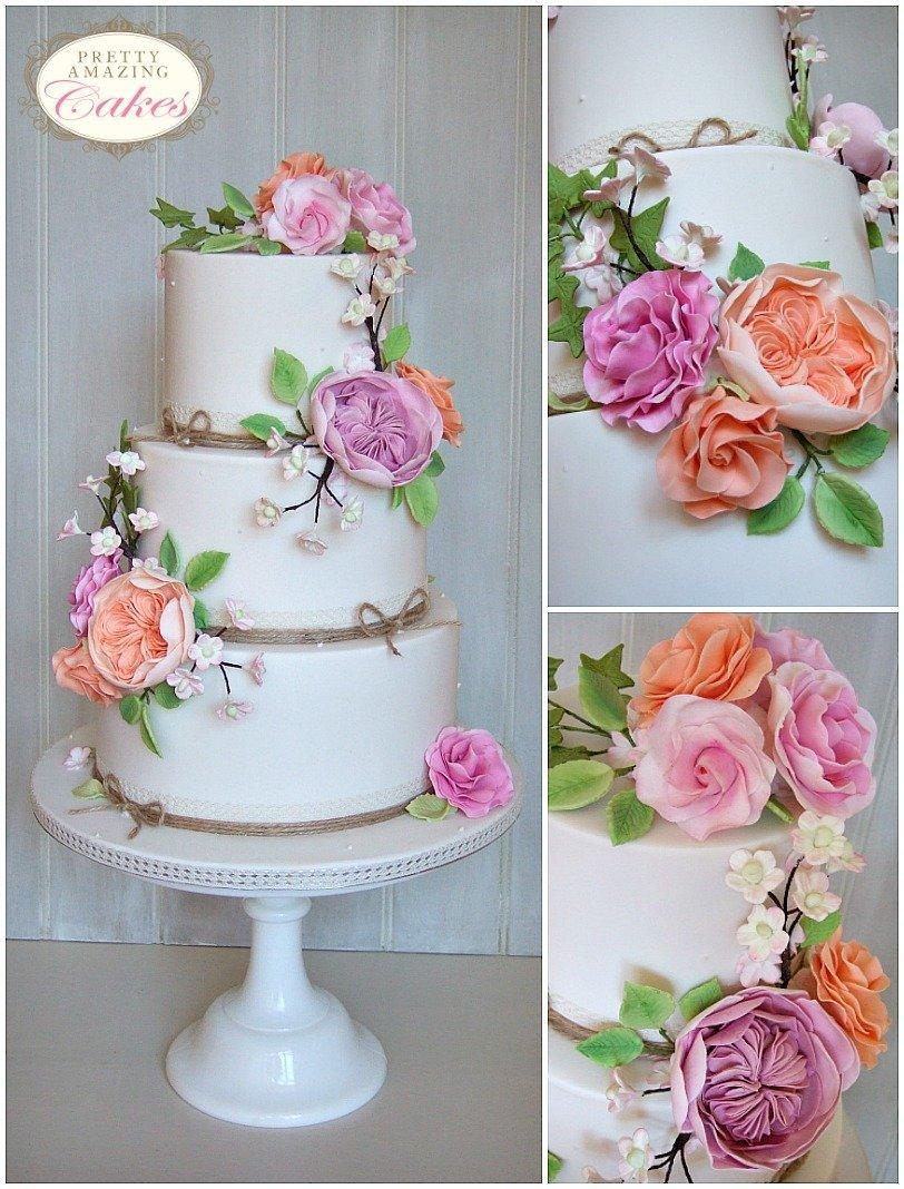 David Austin Roses Wedding Cakes Gloucestershire, Cotswolds, Bristol, Bath, Somerset