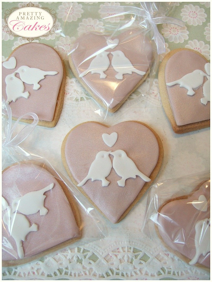 Heart Shaped biscuit wedding favours by Pretty Amazing Cakes in Bristol