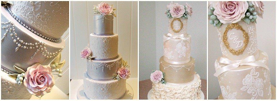 Elegant lace wedding cakes in Bristol
