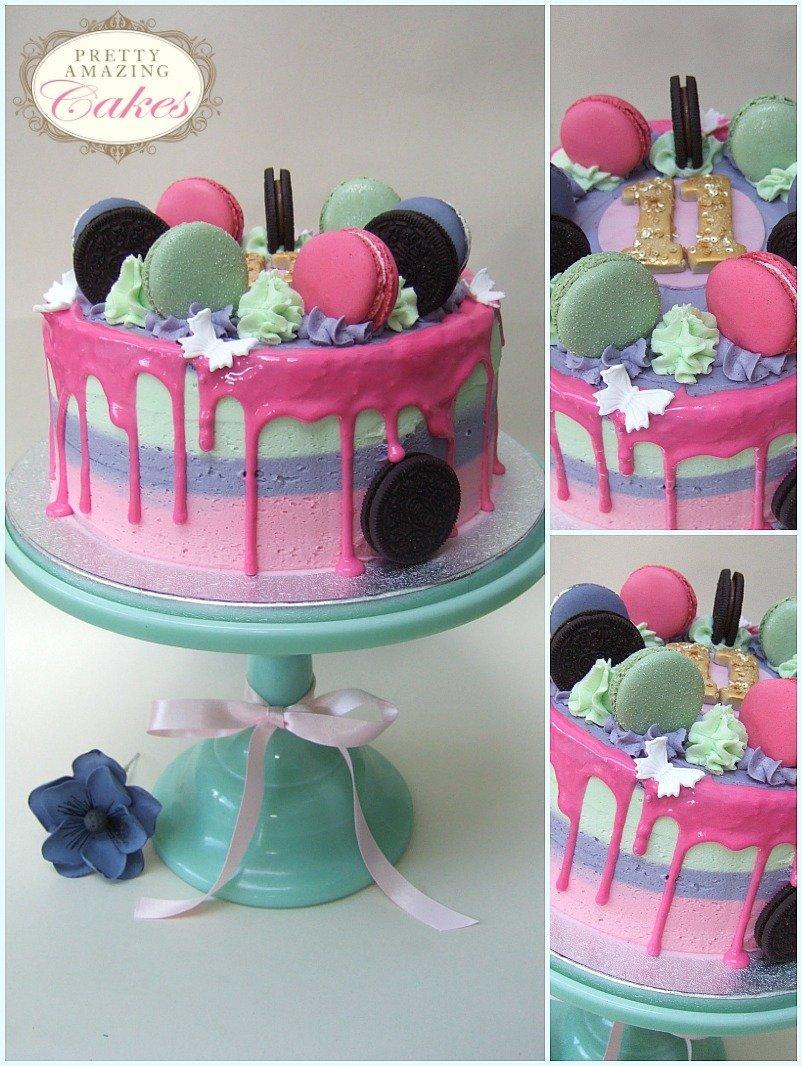 Rainbow Drip Cake with Macarons Bristol