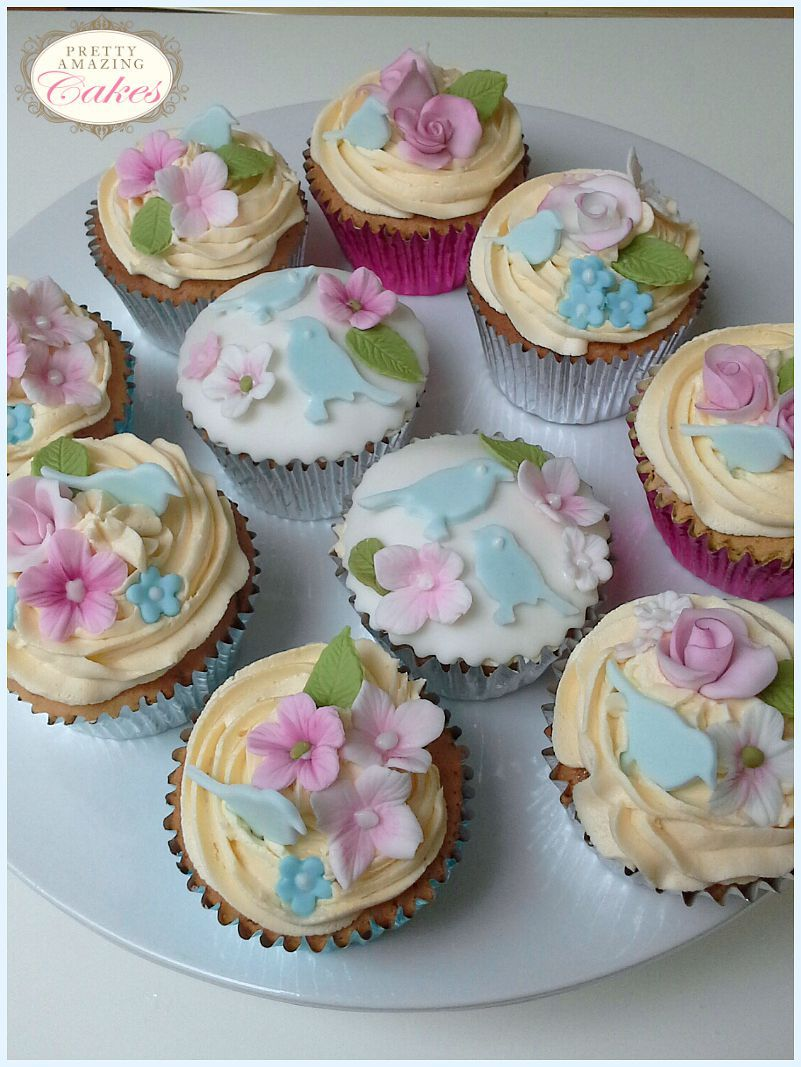 Bird and blossom cupcakes by Pretty Amazing Cakes, Bristol bakery
