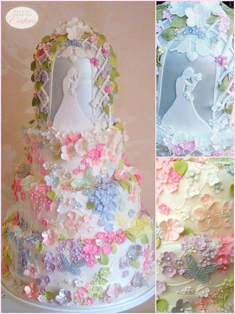 Fairy take summer floral wedding cake Bristol