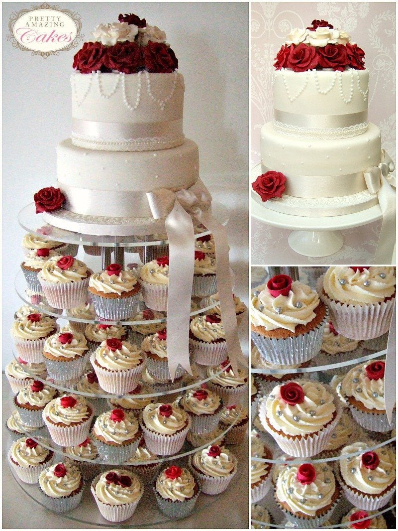 Ruby roses wedding cupcakes by Bristol bakery Pretty Amazing Cakes