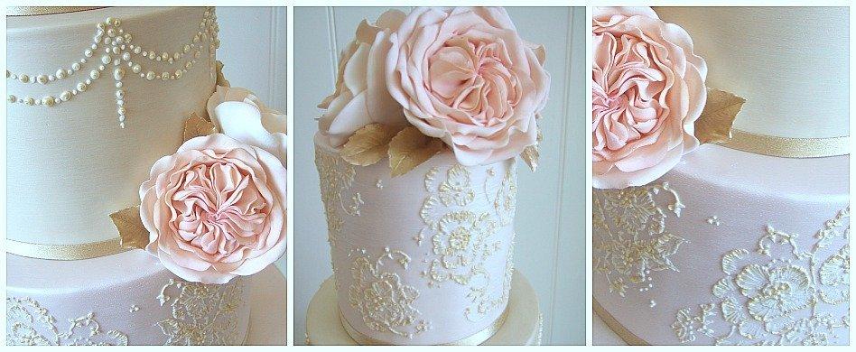 Blush and gold lace vintage wedding cake Bristol Pretty Amazing  Cakes