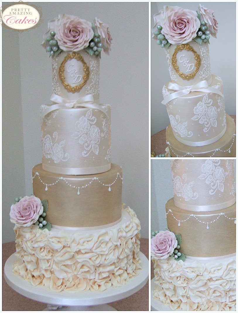 Champagne gold shimmer wedding cakes Bristol Bath Somerset Gloucester Cotswolds