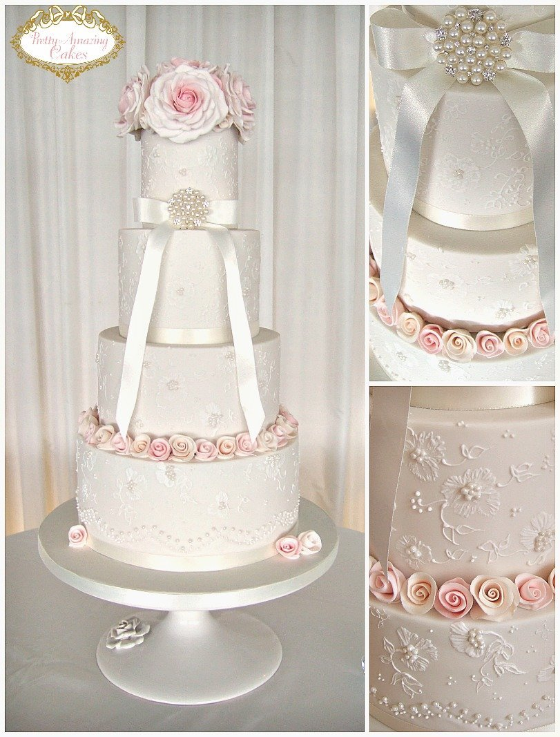 Elegant lace wedding cakes designed in Bristol, Classic lace wedding cakes, White wedding cakes, Wedding cakes with sugar flowers Bristol