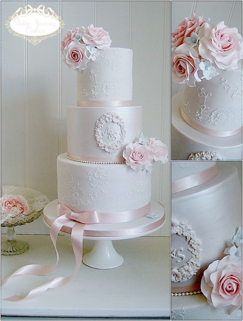 Pretty wedding cakes with clean lines and modern sugar flowers Bristol Bath Somerset Cotswolds Gloucestershire