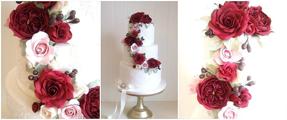 red roses wedding cake for a winter bride Bristol, Gloucestershire