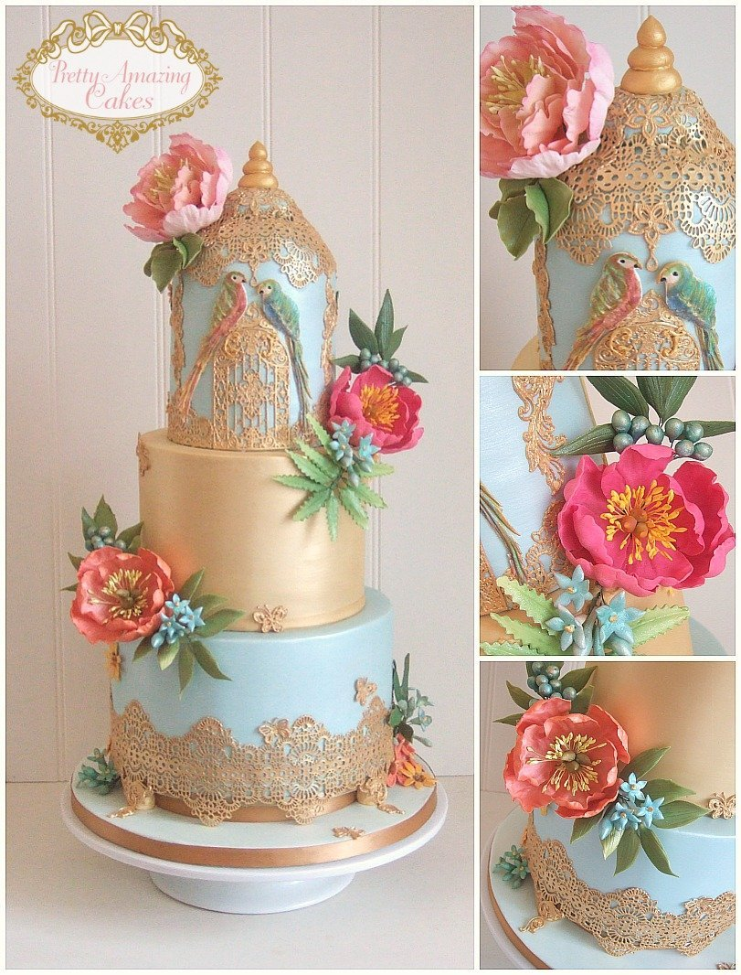 tropical theme wedding cakes Bristol, parrot wedding cakes bristol, gold wedding cakes bristol, blue and gold wedding cakes Bristol, painted wedding cakes Bristol, unusual wedding cakes Bristol,