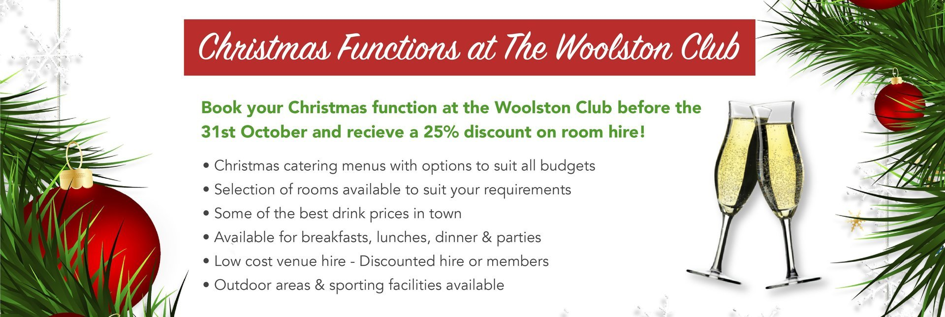 Christmas Functions at The Woolston Club
