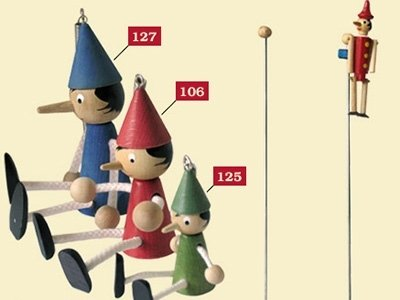 Colourful Pinocchio puppets