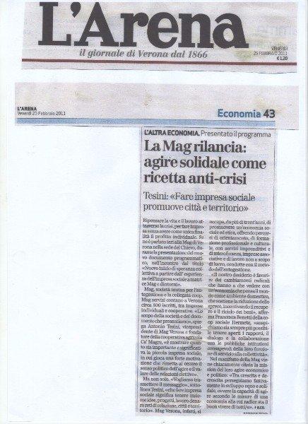 un articolo di giornale con scritto la Mag rilancia:agire solidale come ricetta anti crisi