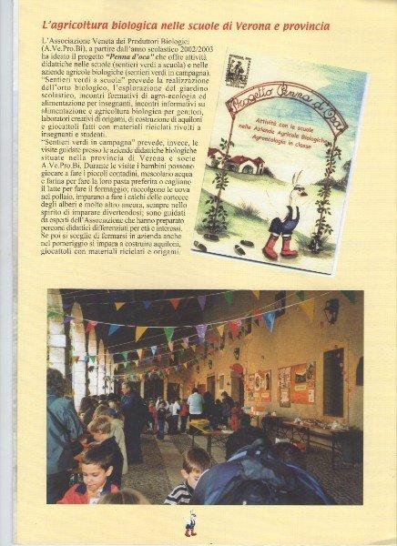 una pagina di una rivista con scritto l'agricoltura biologica nelle scuole di Verona e provincia