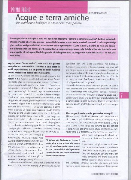 un paragrafo di una rivista con scritto acque e terre amiche